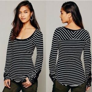 Free People Hard Candy Striped Top Lace Cuffs Med